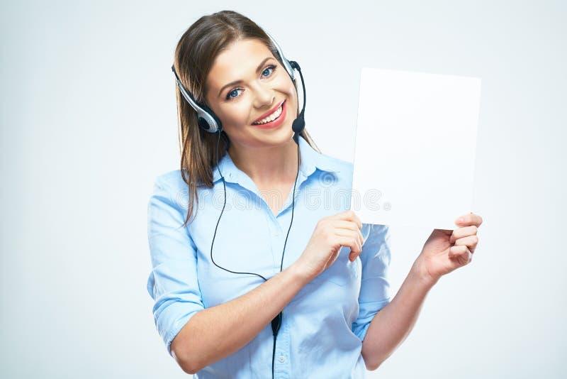 Bräde för tecken för mellanrum för håll för operatör för kvinnaappellmitt arkivfoto