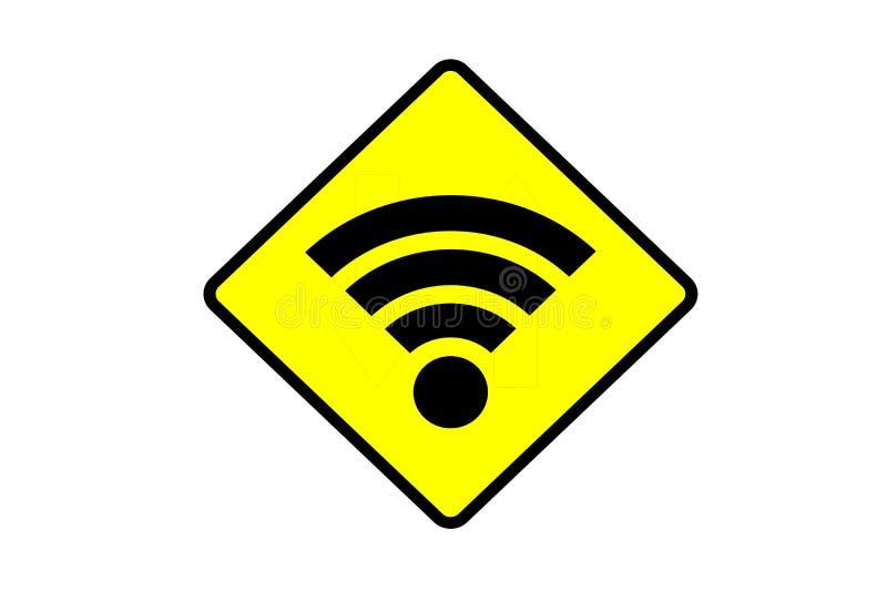Bräde för tecken för Wifi zon gult royaltyfria foton