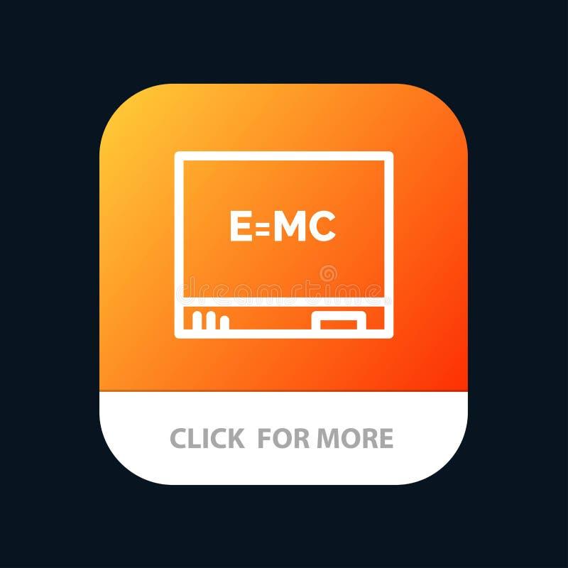 Bräde utbildning, mobil Appknapp för formel Android och IOS-linje version royaltyfri illustrationer