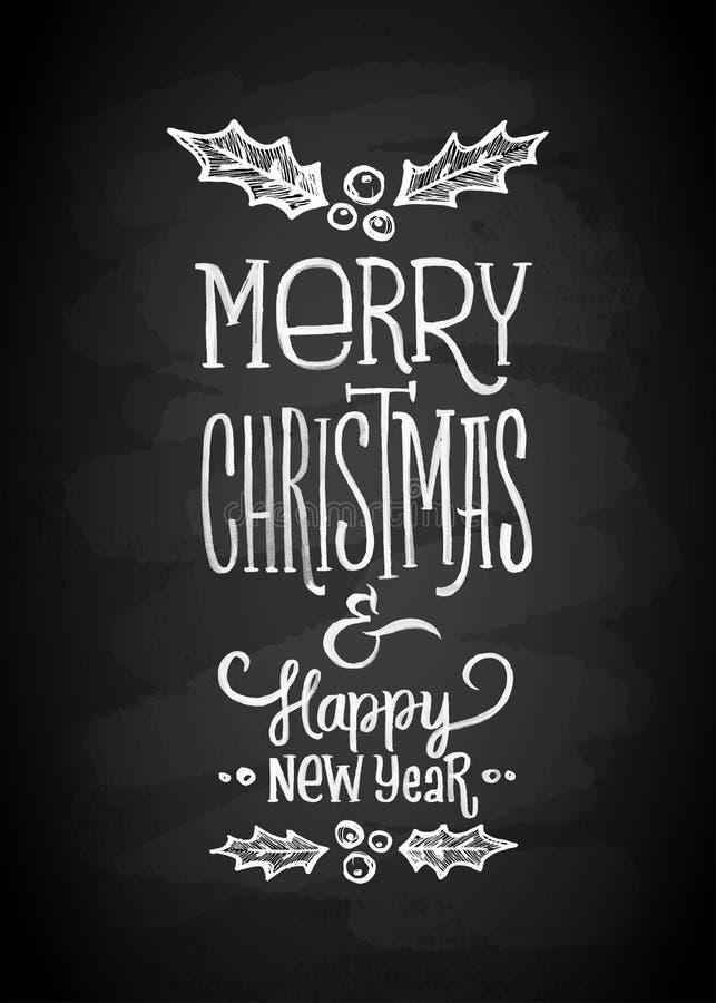 Brädebokstäver för glad jul och för nytt år krita Bokstäver stiliserade för teckningen med krita på svart tavla vektor illustrationer