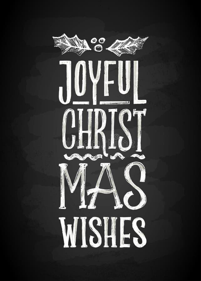 Brädebokstäver för glad jul och för nytt år krita Bokstäver stiliserade för teckningen med krita på svart tavla stock illustrationer