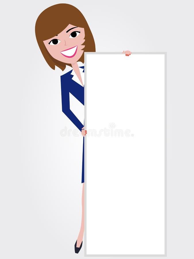 brädeholdingkvinna stock illustrationer