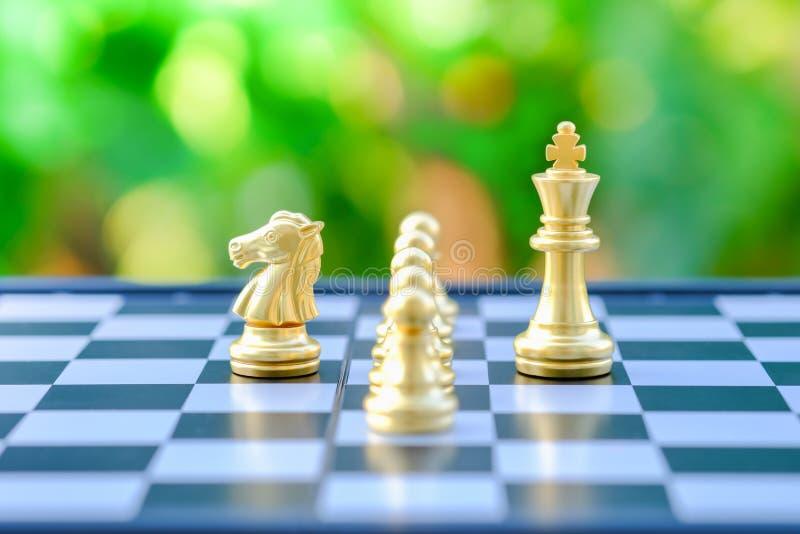 Brädelek, affärsarbete och planerabegrepp Stäng sig upp av guld- kight- och konungstycken på checkboard med grön naturbakgrund royaltyfri foto