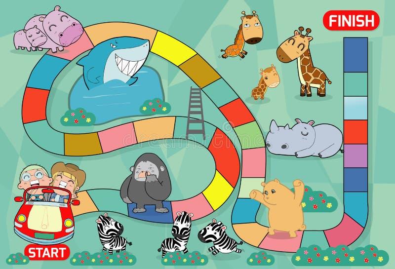 Brädelek med zoo, illustration av en brädelek med zoobakgrund lurar leken för zoodjurbrädet, modig vektorillustration för barn royaltyfri illustrationer