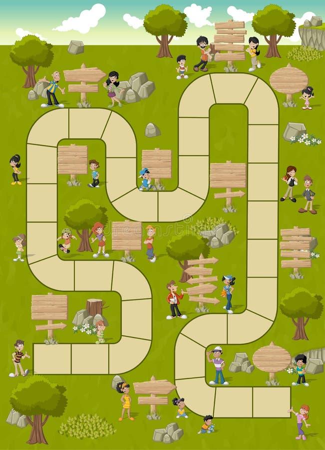 Brädeleken med en kvarterbana på en gräsplan parkerar royaltyfri illustrationer