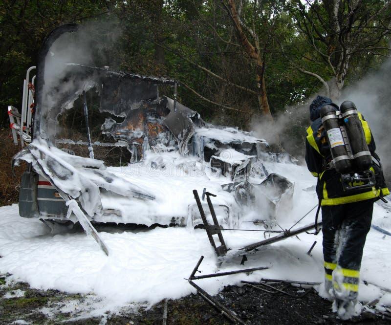 bränd husvagn ut royaltyfri foto