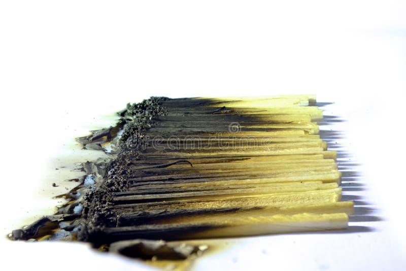 brända matches royaltyfria bilder