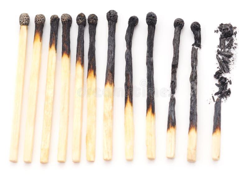 brända matches arkivfoton