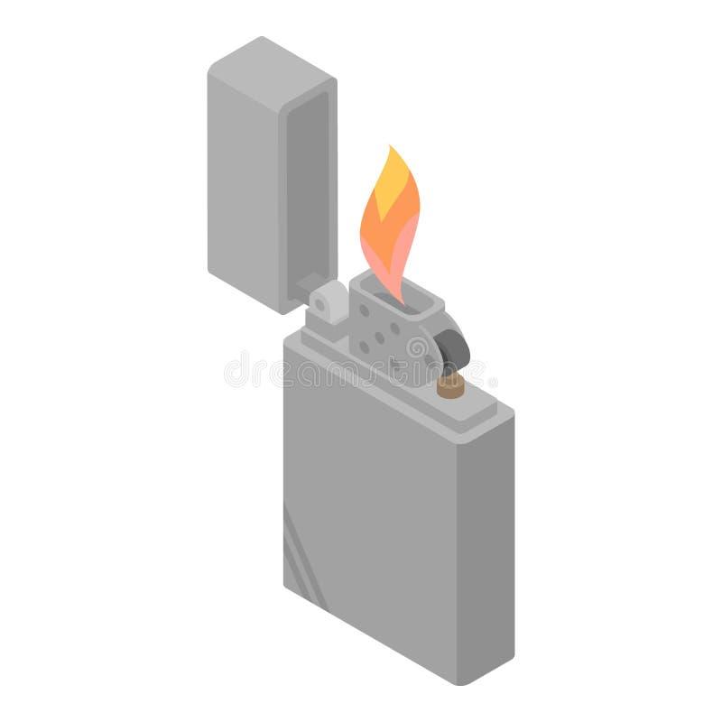 Brännande cigarettändaresymbol, isometrisk stil stock illustrationer