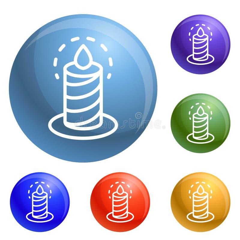 Brännande fastställd vektor för stearinljussymboler royaltyfri illustrationer