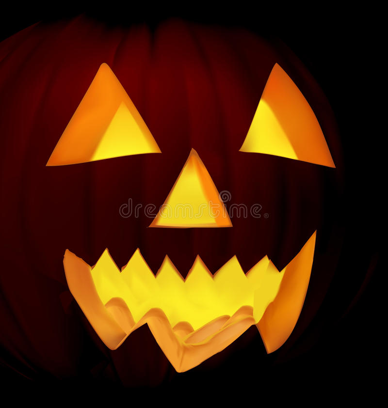 brännande halloween pumpa stock illustrationer
