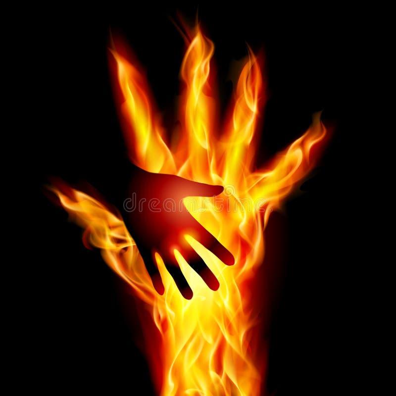Brännande hjälpande hand stock illustrationer