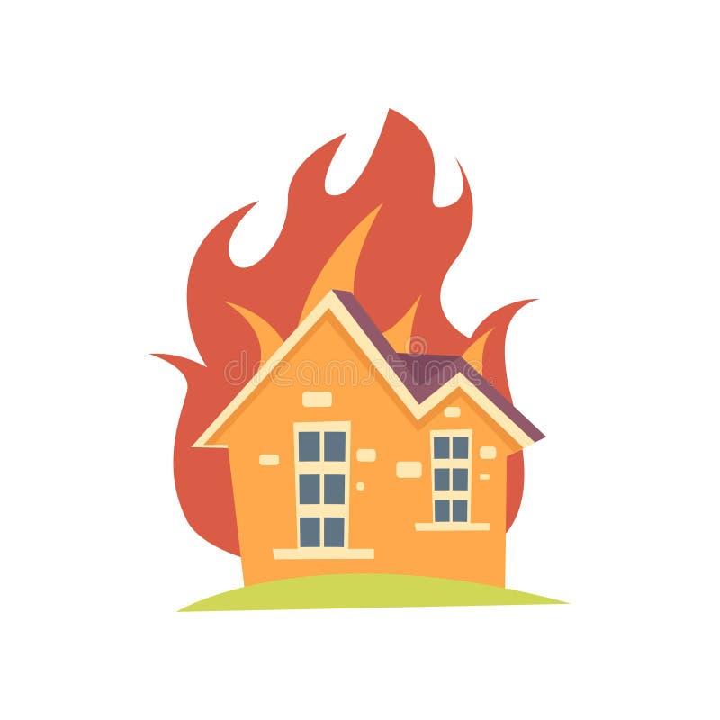 Brännande hus med brand utanför väggarna som isoleras på vit bakgrund royaltyfri illustrationer