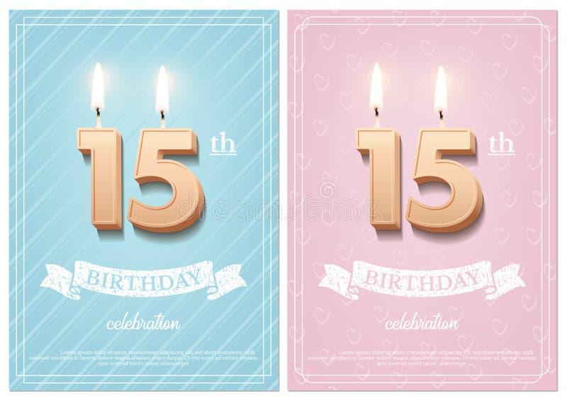 Brännande nummer 15 födelsedagstearinljus med tappningbandet och födelsedagberömtext på texturerad blått och rosa stock illustrationer