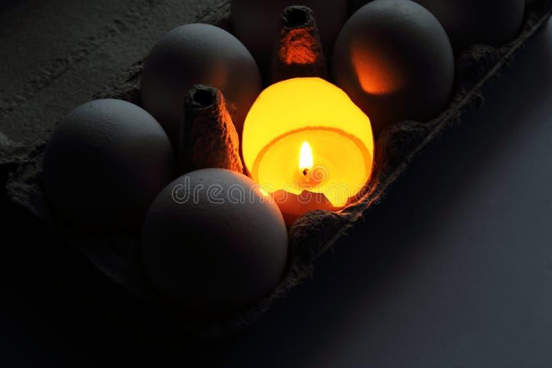 Brännande stearinljus i äggskal som symbol av liv bland ägg i kartong målat gräs för 2 placerade allt för easter för hinkfågelung royaltyfri bild