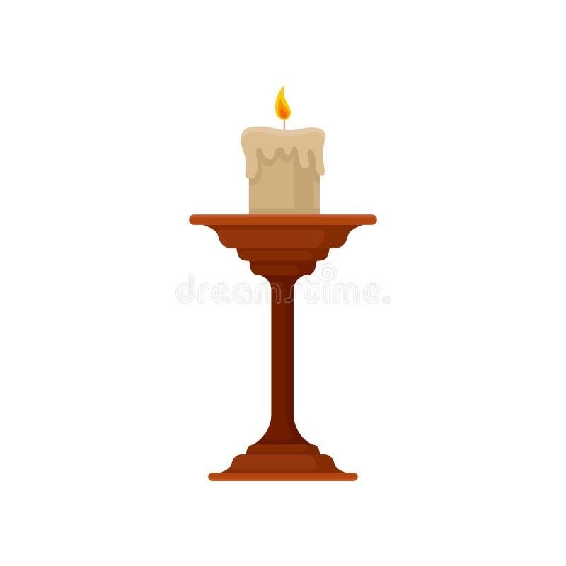 Brännande stearinljus i den lilla ljusstaken, illustration för vektor för tappningkopparstearinljushållare på en vit bakgrund stock illustrationer