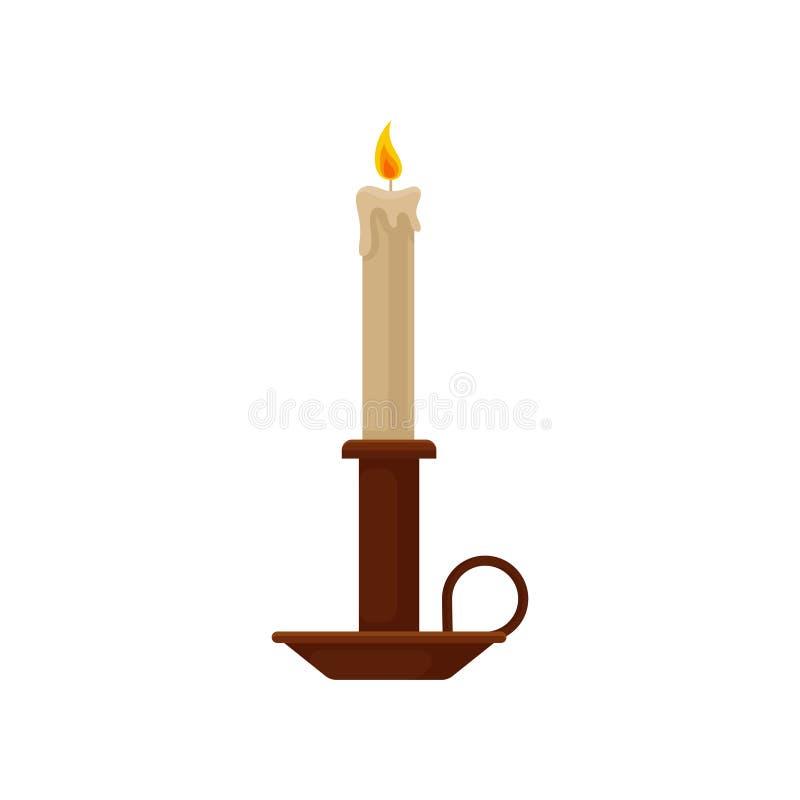Brännande stearinljus i en ljusstake, illustration för vektor för tappningkopparstearinljushållare på en vit bakgrund stock illustrationer