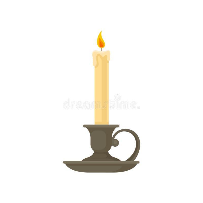 Brännande stearinljus i en tappningstearinljushållare, ljusstakevektorillustration på en vit bakgrund royaltyfri illustrationer
