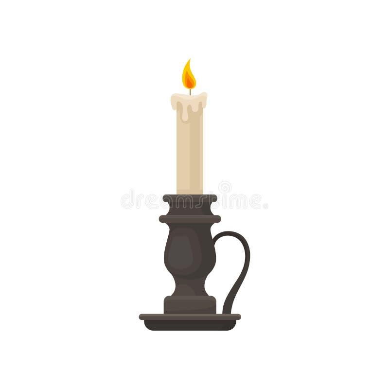 Brännande stearinljus i tappningstearinljushållaren, ljusstake, vektorillustration på en vit bakgrund stock illustrationer