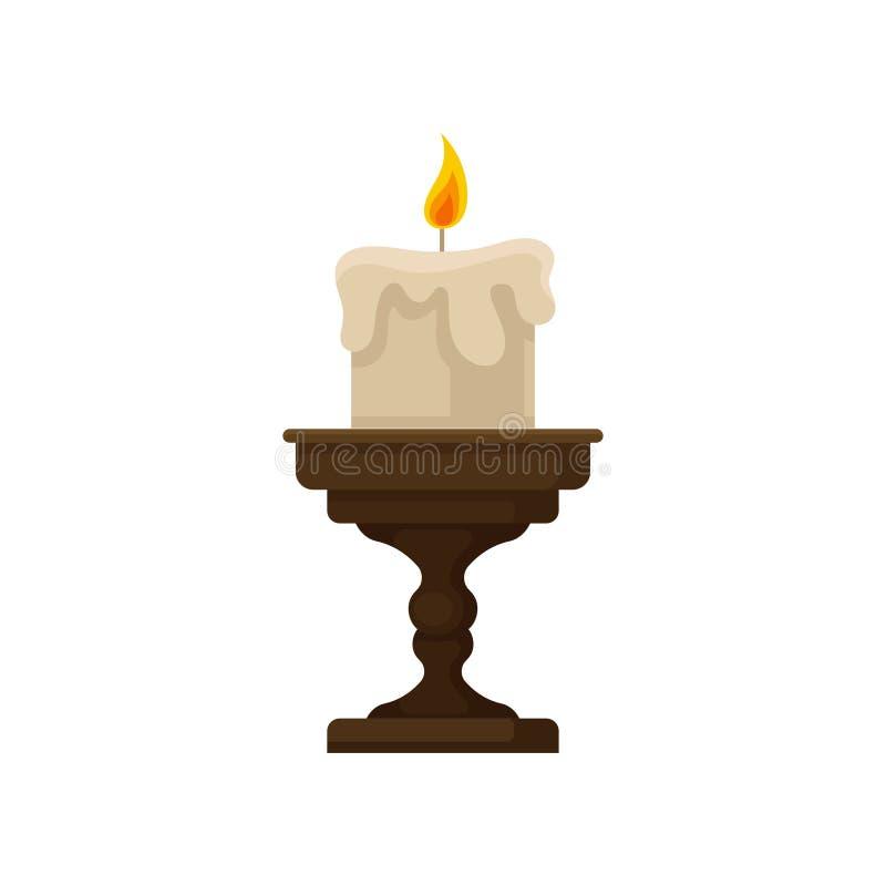 Brännande stearinljus med det smältande vaxet på en liten ljusstake, illustration för vektor för tappningstearinljushållare vektor illustrationer