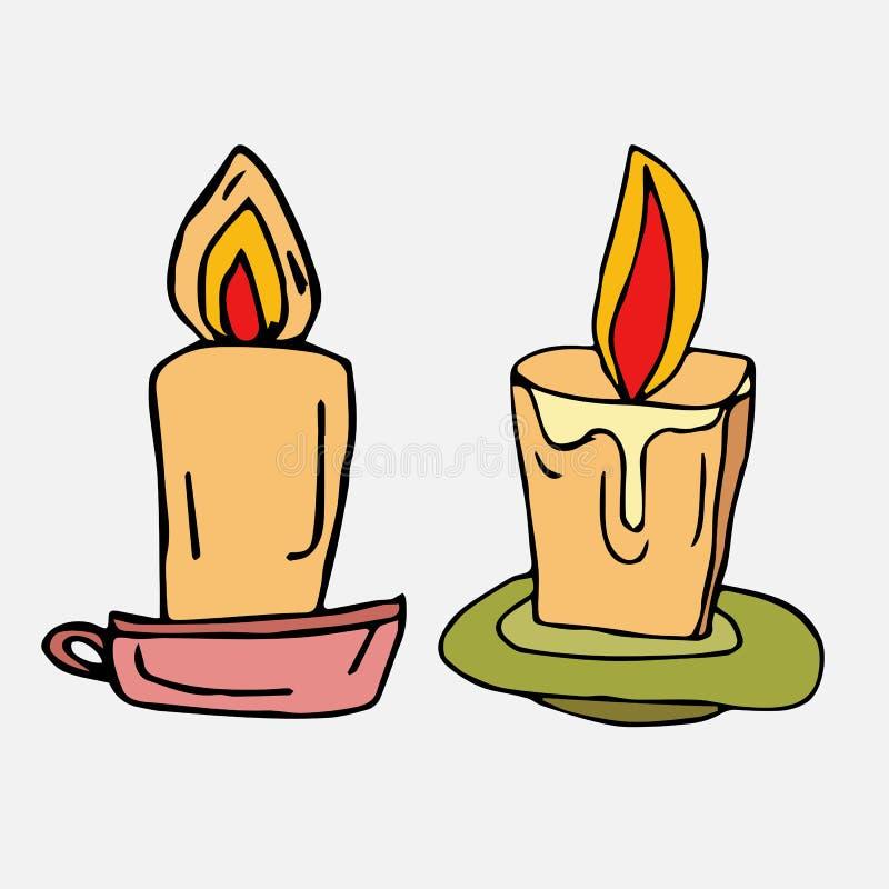 Brännande stearinljus på ett tefat En samling av beståndsdelar som dras av handen Isolat p? vit royaltyfri illustrationer