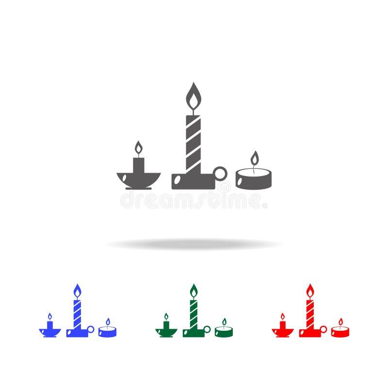 Brännande stearinljussymbol Beståndsdelar av julferier i mång- kulöra symboler Högvärdig kvalitets- symbol för grafisk design Enk stock illustrationer