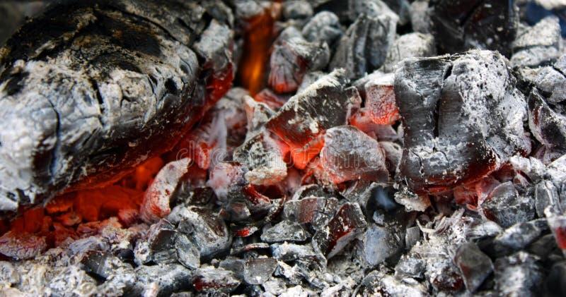 brännande varmt kol i gallerslutet upp arkivfoton
