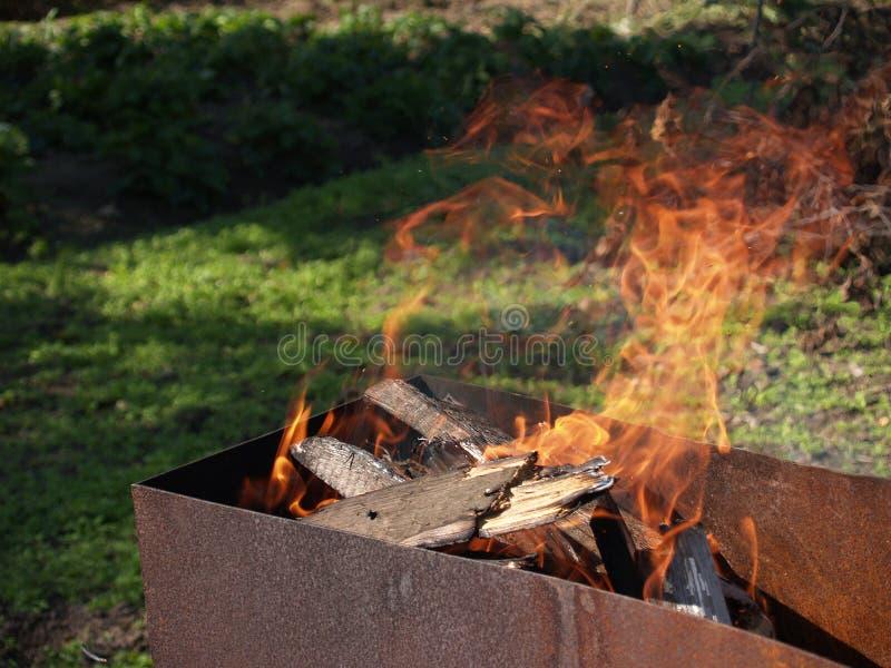 Brännande vedträn i den rostiga chargrillen i en solig sommardag royaltyfri foto