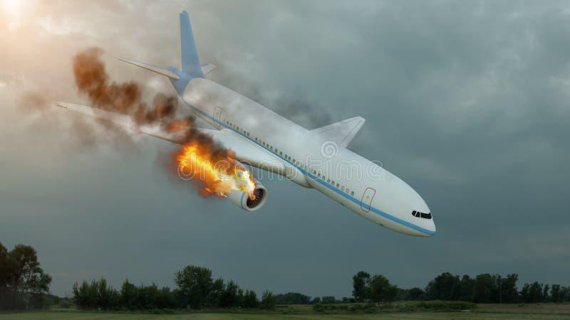 Brännande vitt flygplan i himlen, innan att krascha ner illustration 3d royaltyfri illustrationer