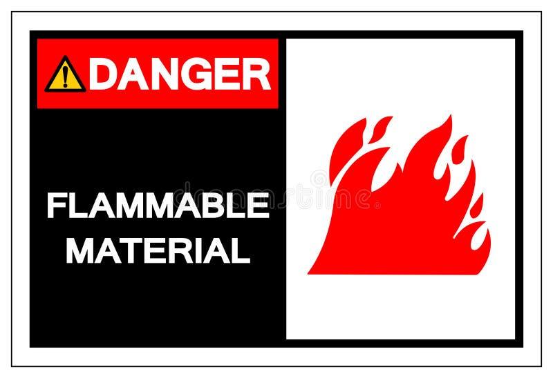 Brännbart materiellt symboltecken för fara, vektorillustration, isolat på den vita bakgrundsetiketten EPS10 stock illustrationer