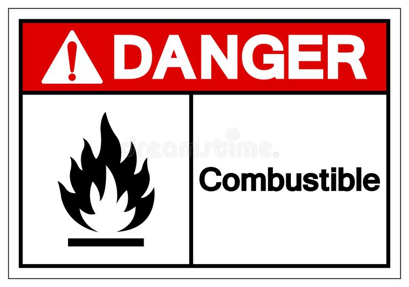 Brännbart symboltecken för fara, vektorillustration, isolat på den vita bakgrundsetiketten EPS10 stock illustrationer