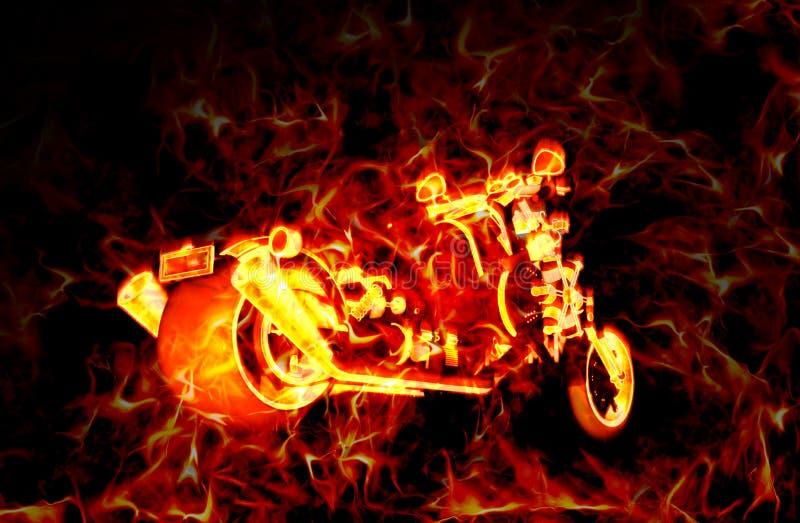 Brännhet brinnande moped med flammor runt om den, över en mörk bakgrund royaltyfri illustrationer