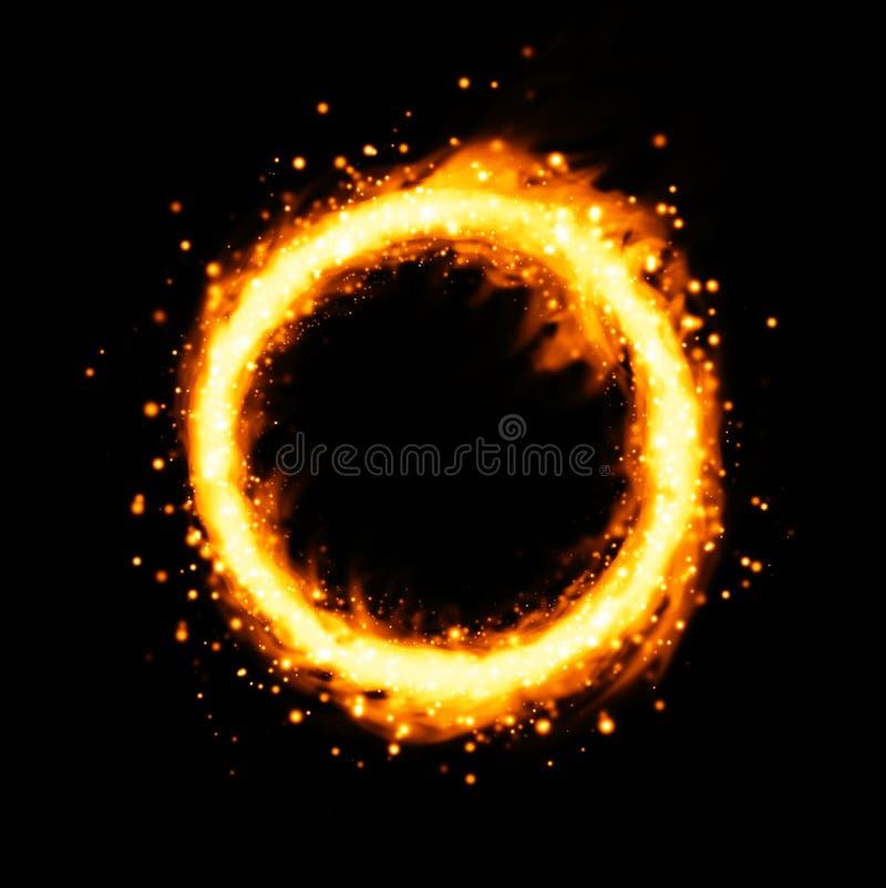 Brännhet cirkel och fritt utrymme i mitten som isoleras på svart bakgrund stock illustrationer
