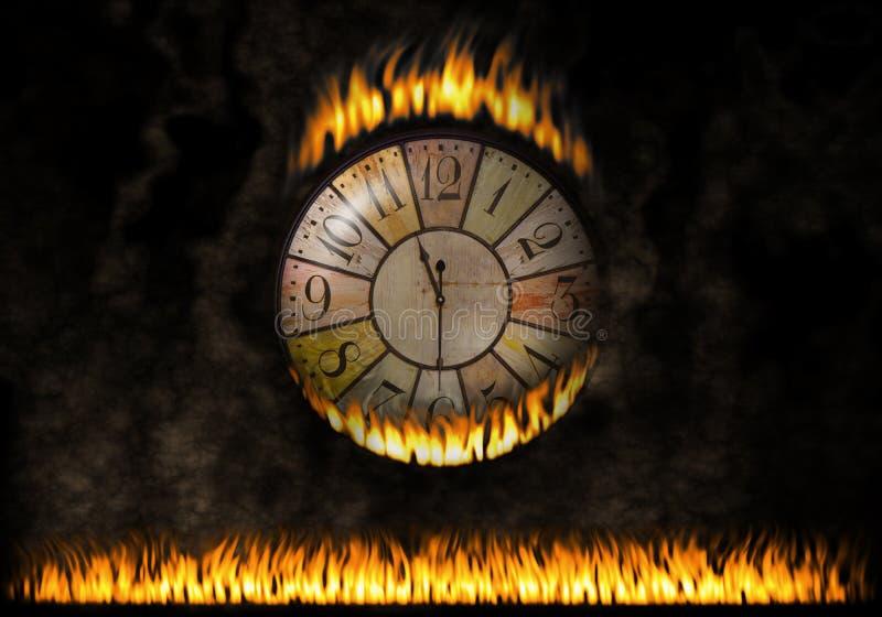 Brännhet klockaklocka Den förflutna tiden Begrepp av brännskadatid, angelägenhet royaltyfri illustrationer