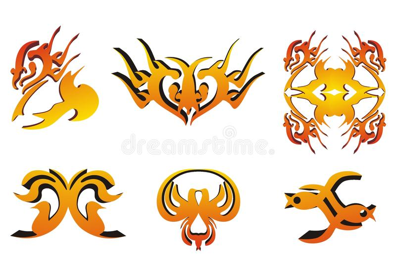 brännheta designelement royaltyfri illustrationer