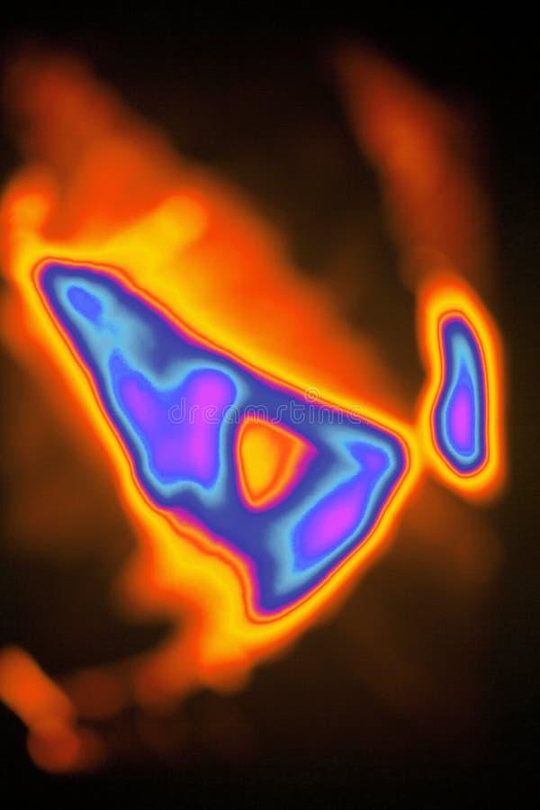Brännhett flammande abstrakt begrepp med brusandefärger stock illustrationer