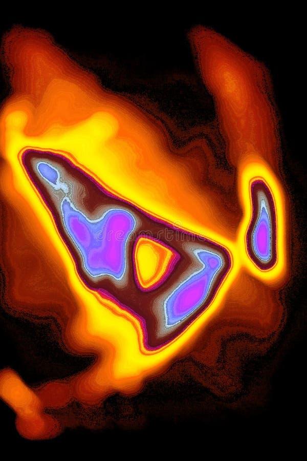 Brännhett flammande abstrakt begrepp med brusandefärger royaltyfri illustrationer