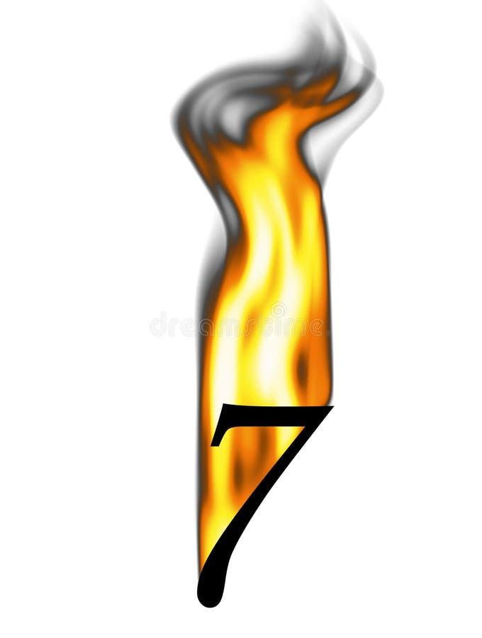 brännhett nummer sju royaltyfri illustrationer