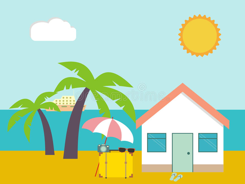 bränning för sommar för stenar för strandkustcyprus medelhavs- sand Strandhuset gömma i handflatan på och havsbakgrund Vändkrets  vektor illustrationer