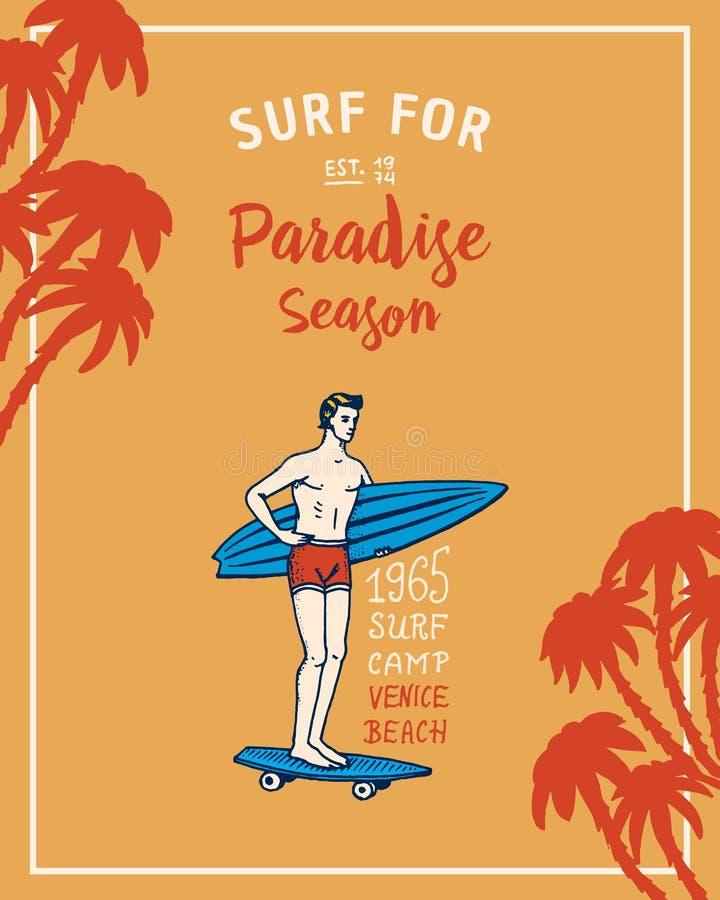 Bränningemblem, våg och hav retro tappning för bakgrund vändkretsar och Kalifornien man på surfingbrädan, sommar på stranden stock illustrationer