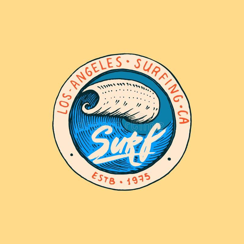 Bränningemblem, våg och hav retro tappning för bakgrund vändkretsar och Kalifornien man på surfingbrädan, sommar på stranden royaltyfri illustrationer