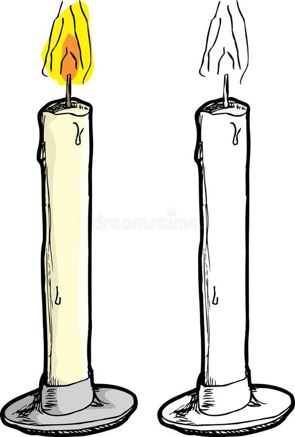 Bränningen vaxar stearinljuset royaltyfri illustrationer