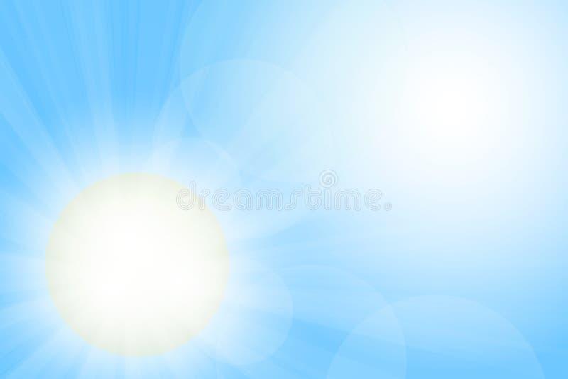 Brännintt solljus Klar illustration för blå himmel royaltyfri illustrationer