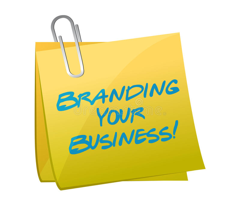 Brännmärka ditt affärsmeddelande som är skriftligt på en stolpe. stock illustrationer