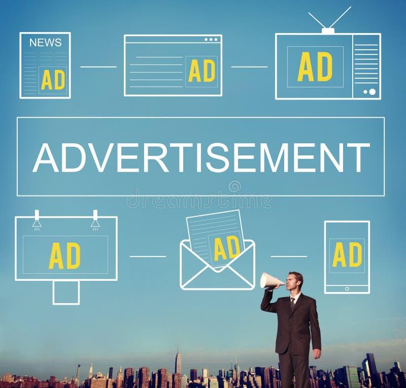 Brännmärka för advertizing för marknadsföring för annonseringANNONSER som kommersiellt är conc arkivbild