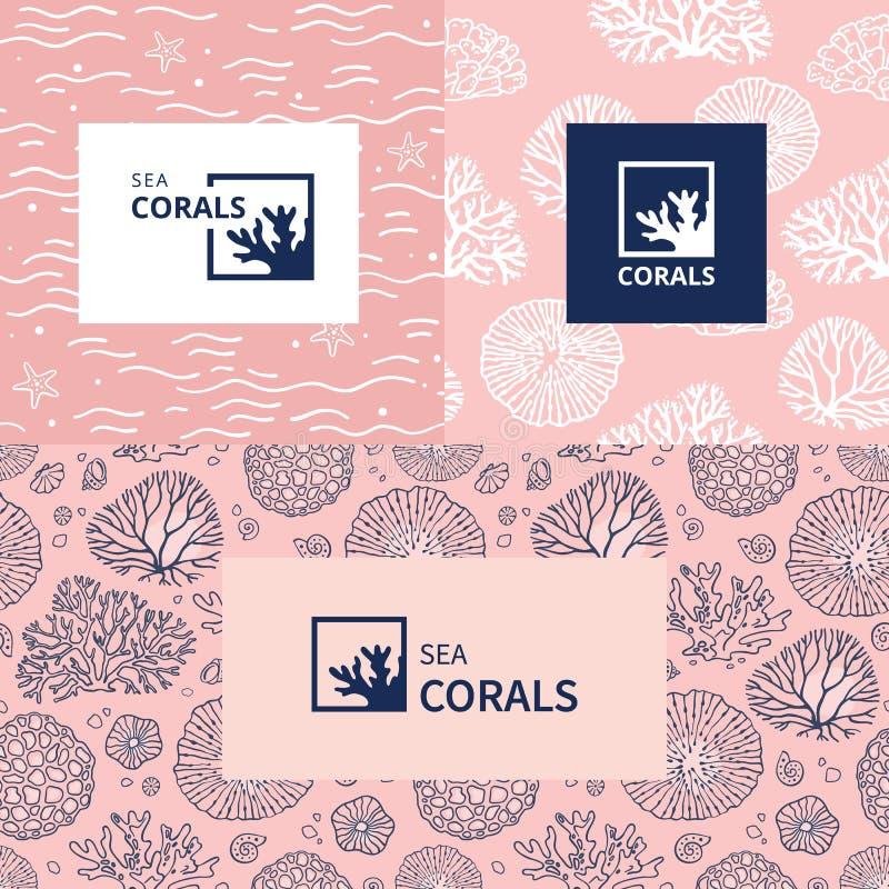 Brännmärka för akvarium, akvarium eller loppföretag stock illustrationer