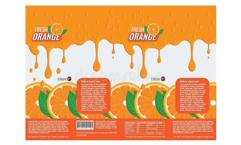 Brännmärka packedesignen för orange fruktsaft med plan färg royaltyfri illustrationer