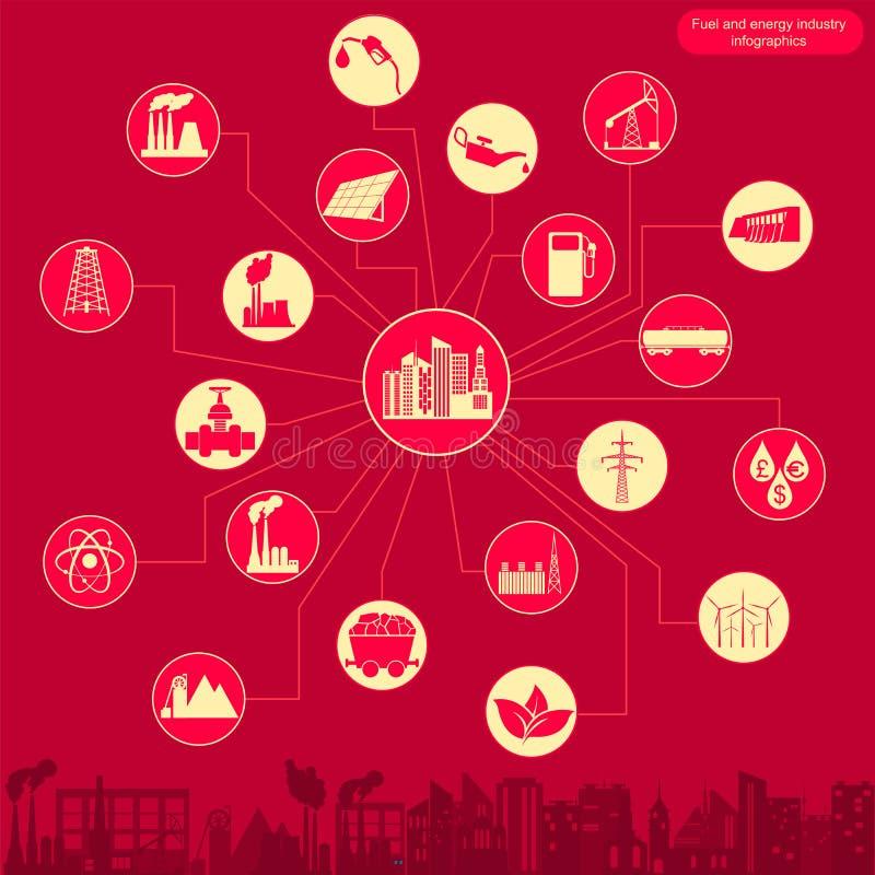 Bränsle och infographic energibransch, ställde in beståndsdelar för att skapa vektor illustrationer