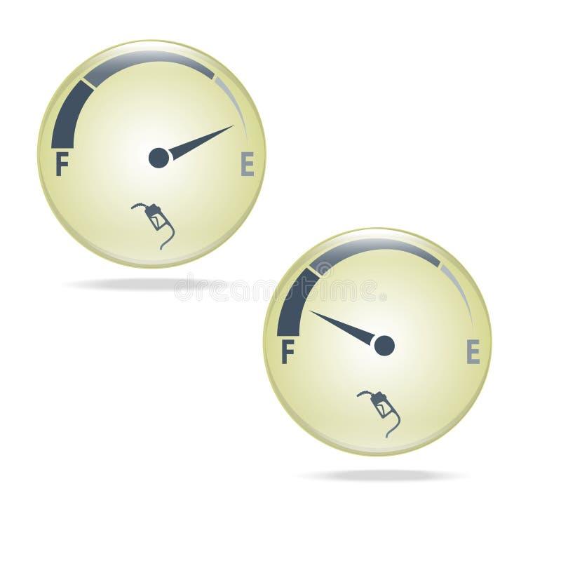 Bränslemått, illustration för symbol för gasmeter stock illustrationer