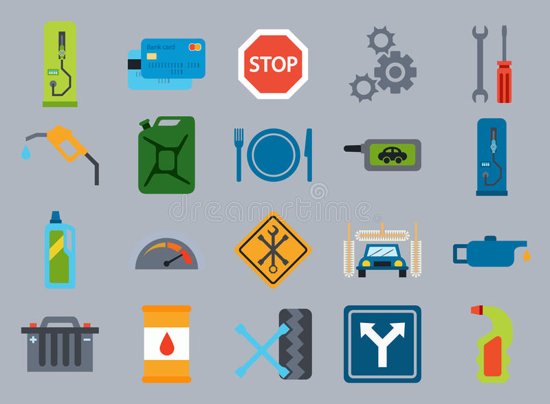 Bränslepump, bensinstationsymboler stock illustrationer